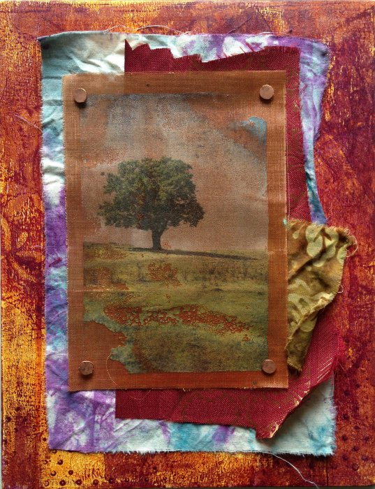 Collage - Gelli Print on Wood + TAP Transfer on Copper Mesh