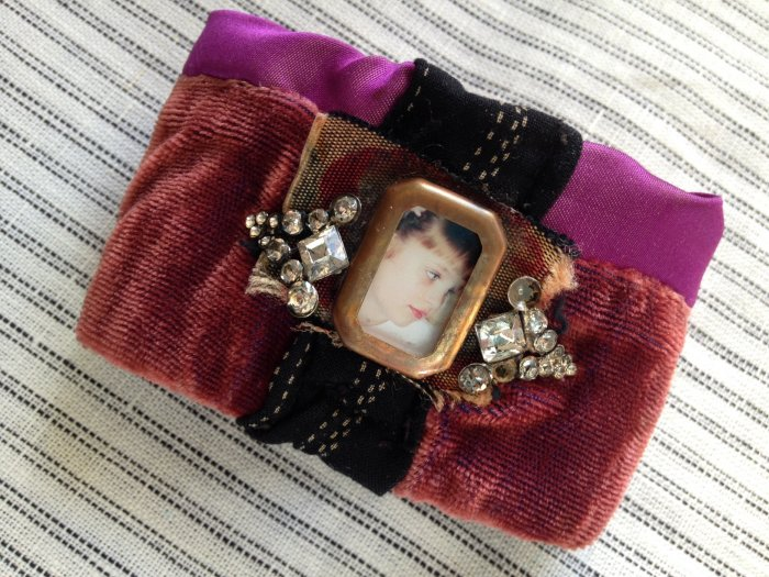 Mixed Media Fabric Cuff - 2