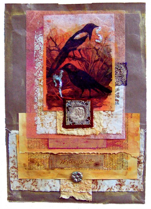 Mixed Media Collage with Golden Paints, Lutradur & Transfer