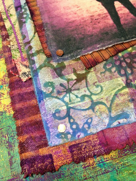 Gelli Print on Wood & Fabric - Detail