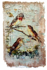 Bird Fresco - Golden Lt Molding Paste and Inkjet Transfer