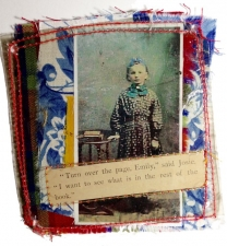 Fabric Collage encased in Mica - Turn the Page