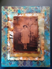 Gelli Print on Wood Collage with TAP Transfer on Copper Mesh